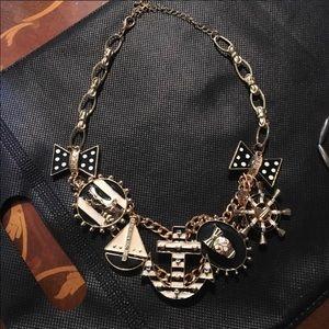 Nautical Skull Anchor Polkadot Bow Charm Necklace